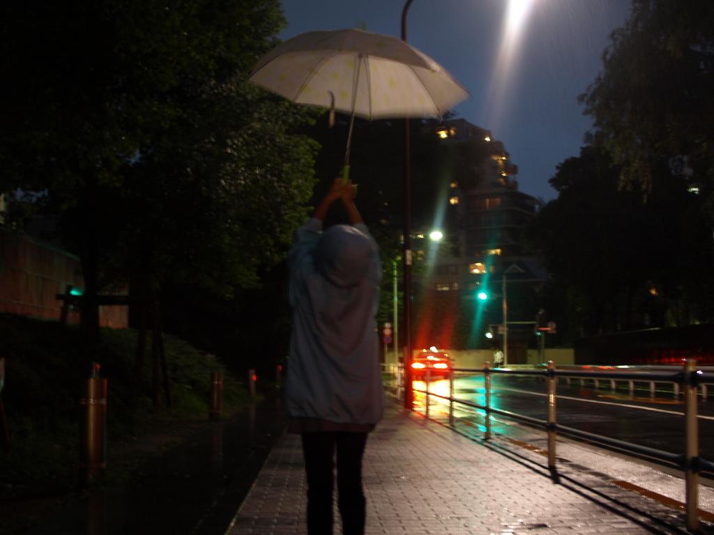 雨に向かって