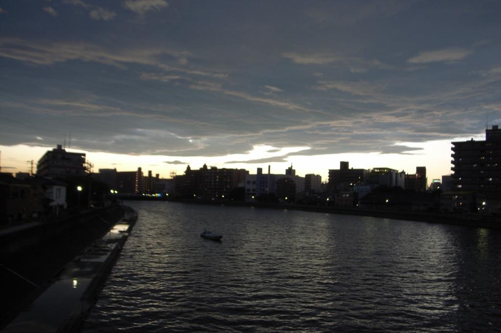 夕焼けに番った川
