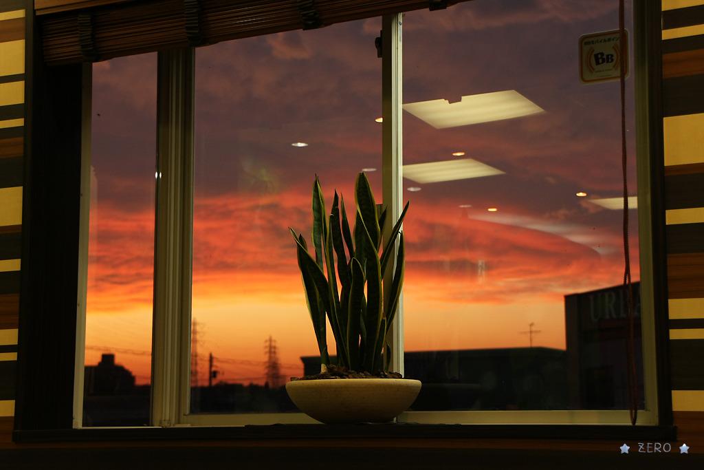 窓の中の夕焼け