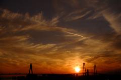 名古屋港の夕日