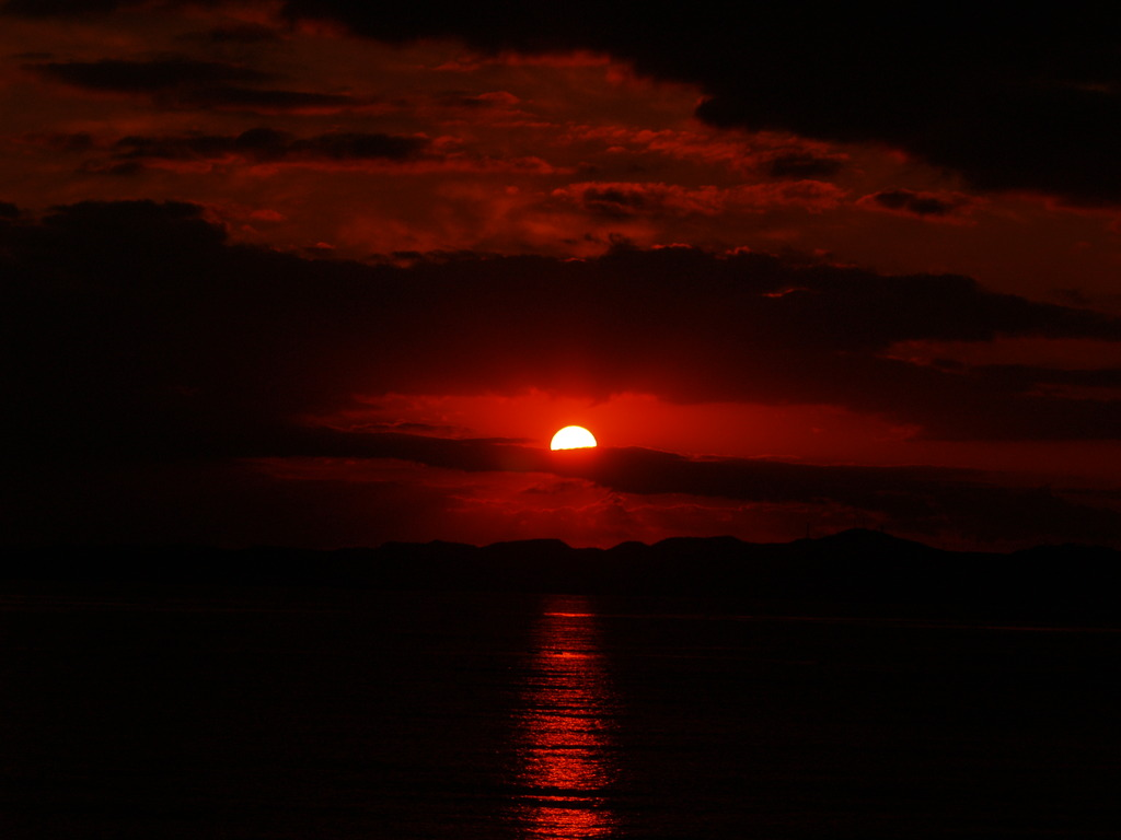 富津岬の夕陽