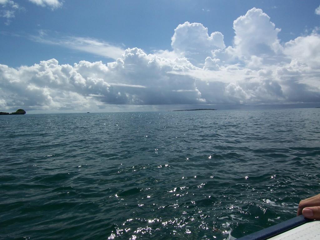夏の海、ボートから