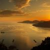 万葉岬の夕日