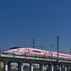 秋晴れを行くハローキティ新幹線
