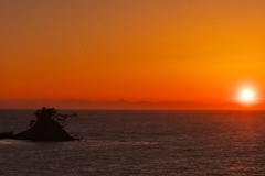 篠島からの夕日(万葉の丘)