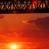 明石海峡大橋と夕日3