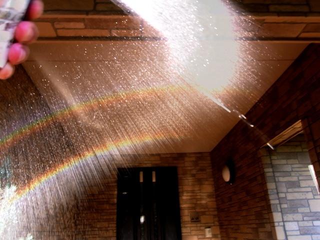 洗車でも虹2重
