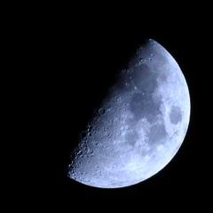 月齢7.3 宵月 上弦 月面X