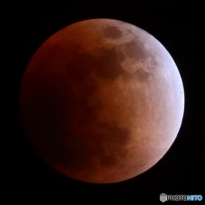 月齢14.4 満月 スーパー・ブルー・ブラットムーン 皆既食