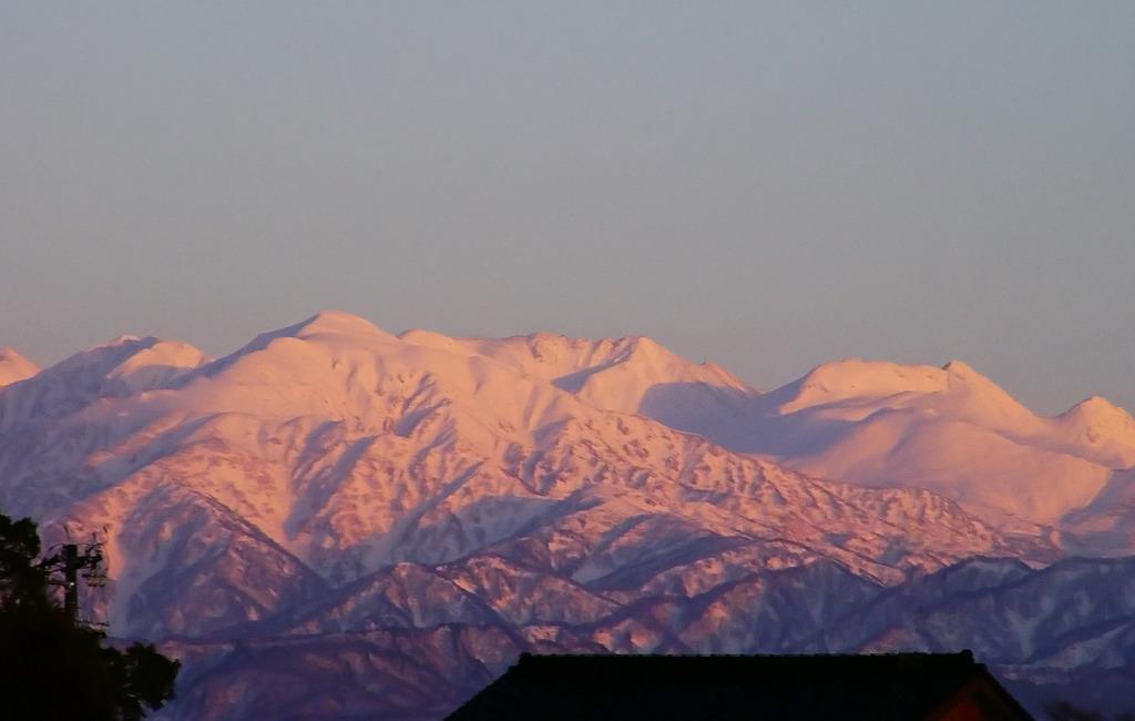 紅に染まる立山連峰