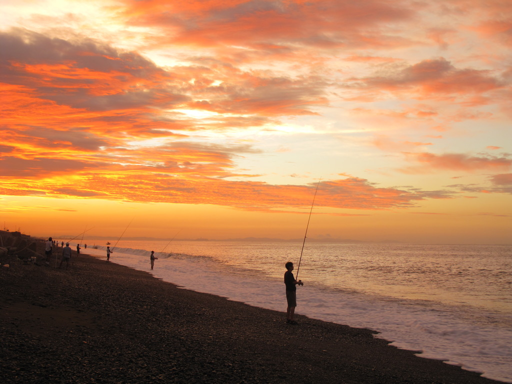 早朝の釣り師