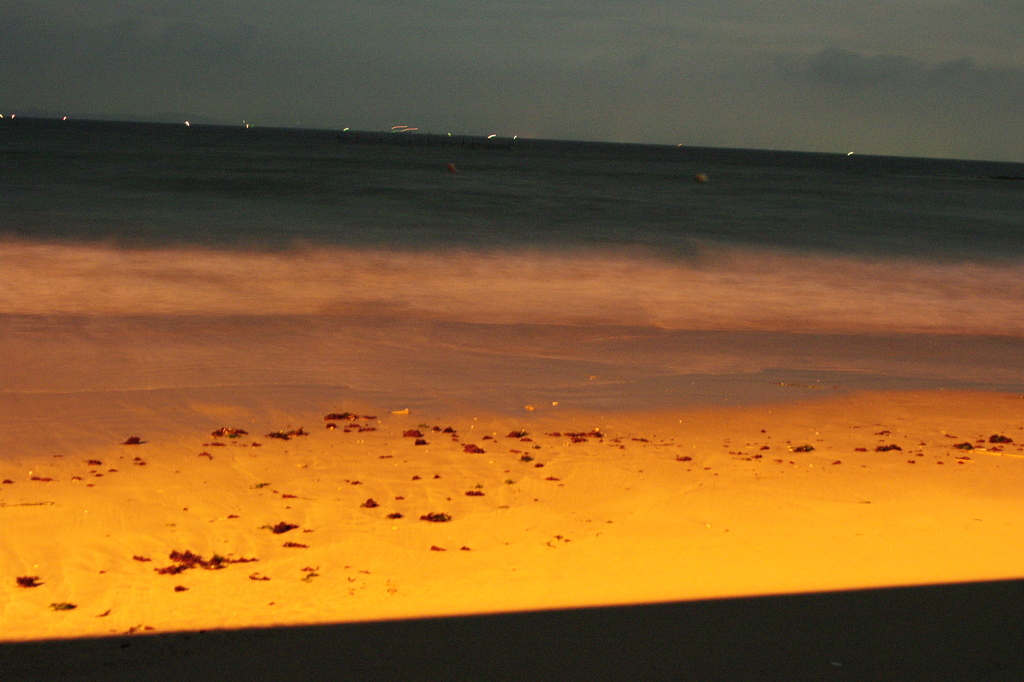 海と波と砂浜