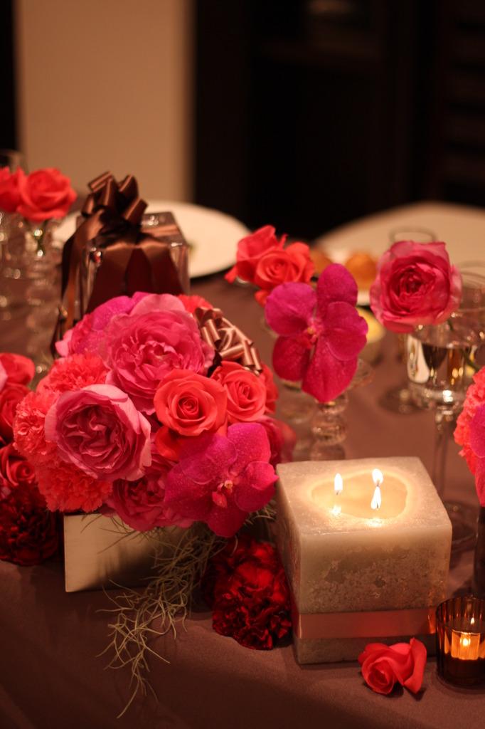 バラとキャンドル。