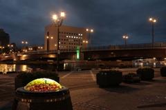 夕暮れ時の幣舞橋