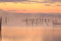 茜色の朝靄