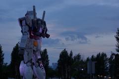 Gundam statue at dusk