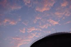 西馬込の貯水タンクと夕日