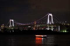 Rainbow bridge brights at night
