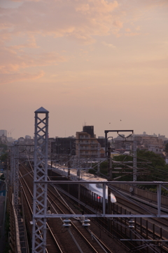 西馬込相生坂の夕日 新幹線と夕暮れ
