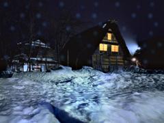 雪の夜の白川郷
