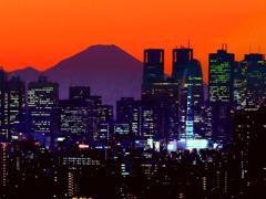 日没後の富士山 t
