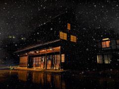 雪の夜の土産物屋
