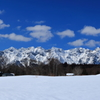 雪原の向こうの戸隠西岳