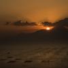 普賢岳と夕日