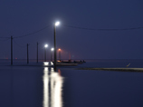 サギのいる夜明け前の海路