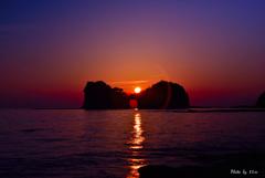 円月島の夕焼け