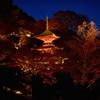 多宝塔と紅の山