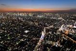 夕焼けの富士と隅田川