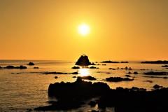 牛之浜海岸から望む夕日3