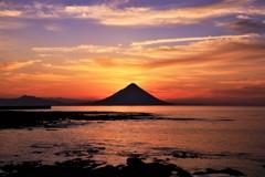 開聞岳の朝焼け2