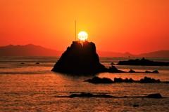 牛之浜海岸から望む夕日