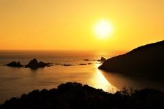 丸木崎展望所からの夕日