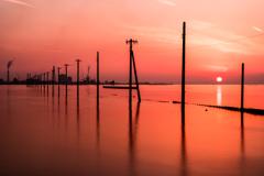 江川海岸の夕陽