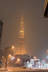 都心 雪化粧 @東京タワー