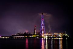 「カラーライトアップ工場夜景」