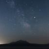 恵庭岳に降る星々。