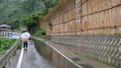 村人と海辺の風除け(間垣)