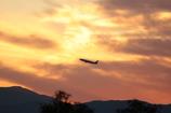 「夕景と飛行機」・・・・・