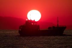 小豆島に沈む太陽