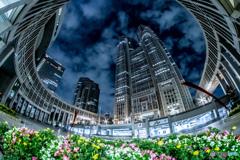 夜の東京都庁。