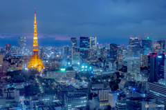 夜中に輝く東京タワー