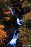 白濁流の紅葉渓谷