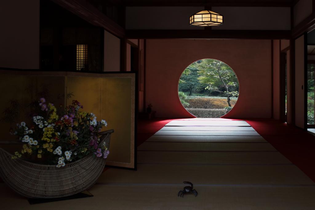 鎌倉 明月院 丸窓の秋