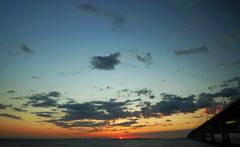 陽が沈む関空