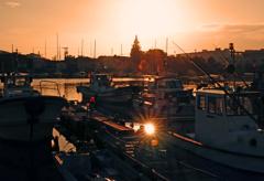 出島漁港の夕陽