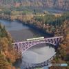 第一只見川橋梁を渡る只見線キハ40系気動車